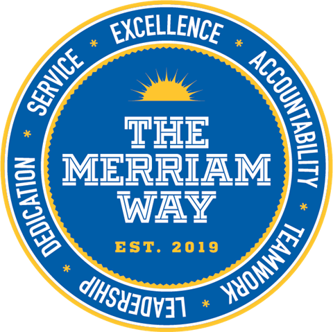Merriam Way logo with words excellence, accountability, service, dedication, teamwork and leadership written on it in the colors blue, yellow, and white.