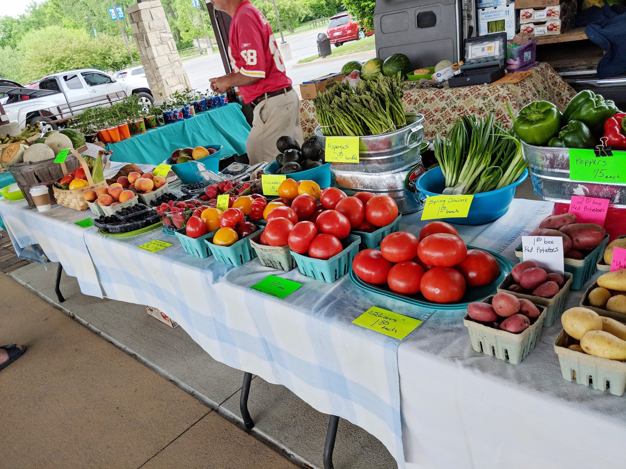 Display of produce available at the Farmers' Market